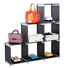 3 Tier Storage Cube Closet Organizer Shelf 6 Cube Cabinet Bookcase Storage Black