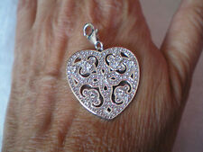 White Topaz, Milano Heart charm, 0.37 carats, in 7.54 grams 925 Sterling Silver