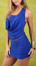 SeXy Miss Damen Neck Mini Kleid Spitze gerafft Kettengürtel 34/36/38 blau NEU