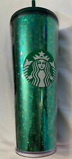 2019 Starbucks Holiday Green Bling Glitter 16 Oz. Hot Cold Cup Tumbler Straw