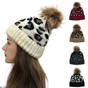 Women Leopard Print Knitted Beanie Hat Detachable Faux Fur Bobble Pom Pom Winter