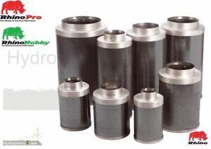 "Rhino Pro Hobby Carbon Air Fan Filter Hydroponics Grow Odour 4"" 5"" 6"" 8"" 10"" 12"""