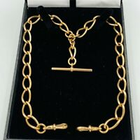 Antique 9ct Gold Curb Link Double Albert Watch Chain & T -Bar #572