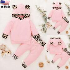 Newborn Baby Girls Hooded Tops Pants Kids Tracksuit Trousers Outfit Clothes Set