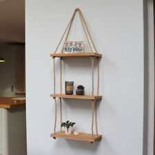 3 Tier Wall Rope Hanging Shelf Solid Natural Wood Shelving Home Mounted Storage
