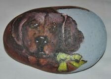 Original Stone Art by Leean of Dog w/Green Bow * Rock Art Painting * Signed