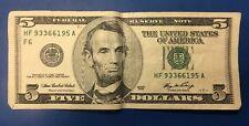 2006 $5 Dollar Note. 2 Pair Serial # HF 93366195 A
