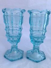 PR of Peacock Blue vintage pressed Glass JACOBEAN /Chippendale vases - Davidson