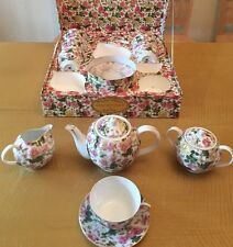 TEA SET NIB PORCELAIN TREASURES HAND PAINTED BY BETTY PLATNER **FREE SHIPPING**