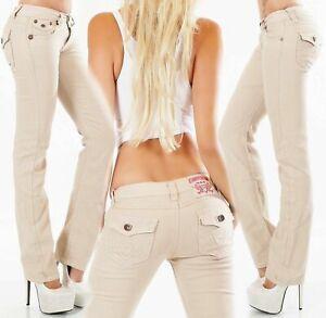 Women's straight leg Jeans stretch Pants mid rise Trousers Beige UK 8 -16