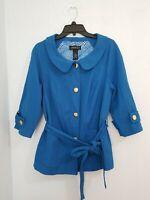 Lane Bryant Women's Jacket 3/4 Sleeve Button Belt Blue Color. Size 16