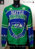 NFL Seattle Seahawks Crewneck Christmas Holiday Knit Sweater Team Apparel *Sz XL