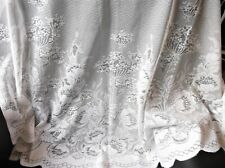 "WHITE LACY FLORAL NET CURTAIN 38"" WIDE X 44"" DROP SCALLOP BOTTOM GREAT CONDITION"