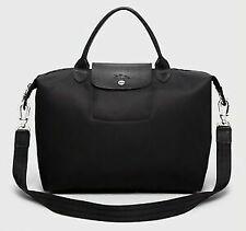 NWT Longchamp Le Pliage Neo Medium Nylon Travel Crossbody Satchel Tote Bag BLACK