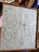 BATTLEFIELD OF GETTYSBURG CIVIL WAR REPRO MAP OAK PICTURE FRAME GLASS 18x16 vtg
