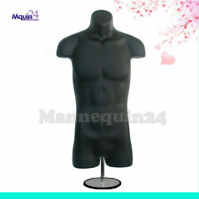 MALE TORSO MANNEQUIN BLACK with TABLE TOP STAND + HANGING HOOK MEN DRESS FORM