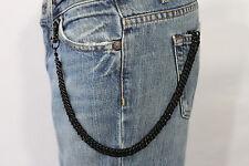 New Men Women Black Classic Chunky Metal Thick Wallet Chain KeyChain Biker Jeans
