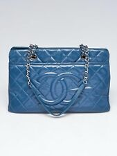 Chanel Blue Quilted Caviar Leather Timeless CC Soft Shopping Large Tote Bag
