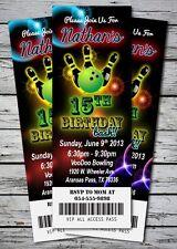 Laser BOWLING GLOW NEON Birthday Party Invitation TICKET Stub BOWL GIRL BOY