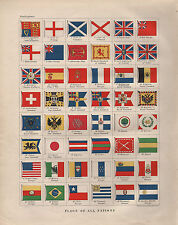 1901 VICTORIAN PRINT ~ FLAGS OF ALL NATIONS SWITZERLAND JAPAN CHINA TURKEY etc