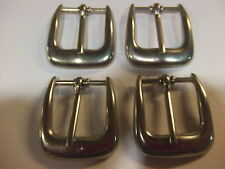 """Lot Of 4 Dull Nickel End Bar/Harness Buckles 1"""" By Rhode Island Buckle Co. USA"""