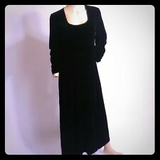 Laura Ashley Black Velvet Maxi Dress US 8 UK 12