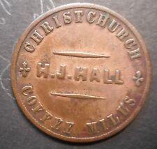 New Zealand 1863 H J Hall Christchurch Penny Token Coin Nice