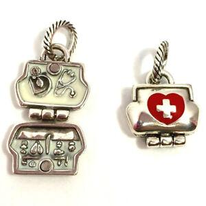 Brighton Medic Charm, J97662, Silver w/ Red, White Enamel, New