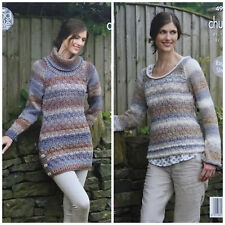 KNITTING PATTERN Ladies Textured Long Tunic and Jumper Chunky King Cole 4981