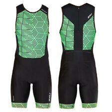 New 2XU Men Perform Rear Zip Trisuit Race Train Triathlon Tri Suit Green Medium