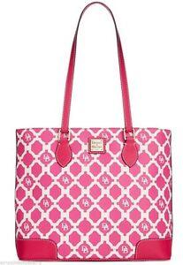 Dooney & Bourke Richmond Sanibel Shopper Tote Handbag Purse Bag Turquoise Pink