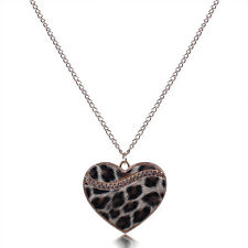 Chic Heart Crystal Pendant Long Chain Necklace Lady Leopard Style Christmas Gift