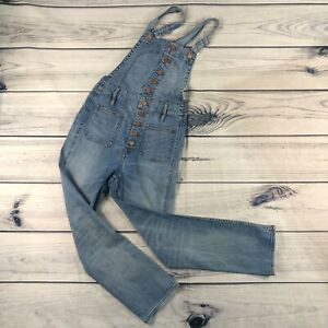 Madewell Women's Medium Wash Button Front Blue Denim Overalls Size Small S
