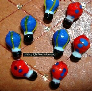 Glass hot air balloon lamp work beads handmade red & blue balloon beads gbs008