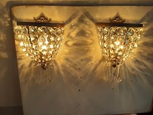 PAIR OF ANTIQUE/VINTAGE BRASS AND CRYSTAL MIRROR BACKED  WALL LIGHTS.  Rewired.