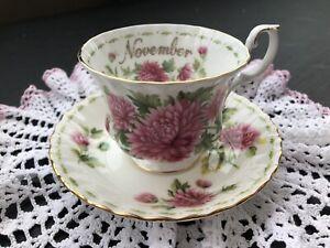 Royal Albert Flower of the Month - Chrysanthemum - Bone China Tea Cup & Saucer