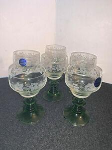 6 Vintage Zwiesel Green Beehive Stemmed German Hand Etched Wine Glasses