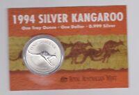 1994 1oz .999 Silver Coin $1 Kangaroo UNC Australia one ounce