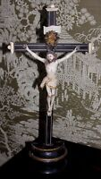 Antique French Christ Crucifix Hand Carved Wooden Church Cross Santo France
