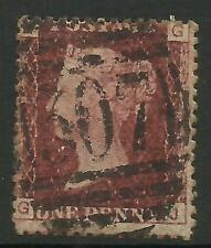 GB QUEEN VICTORIA 1d RED Penny PLATE 196 Letters J G USED