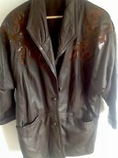 VINTAGE 80s 90s BROWN LEATHER SUEDE 3/4 BATWING OVERSIZED JACKET SIZE 14