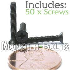 M2.5 x 16mm - Qty 50 - DIN 965 Phillips FLAT HEAD Machine Screw Black Ox  Type H