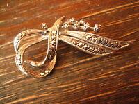 reizvolle Art Deco Markasit Brosche Schleife 800er Silber zeitlos elegant