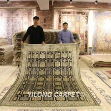 YILONG 6'x9' Traditional Good Hand Knotted Handmade Silk Interior Area Rugs 449B