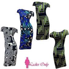 New BODYCON Dress Ladies Stretch MIDI DRESSES Womens BODY CON FREE UK Postage