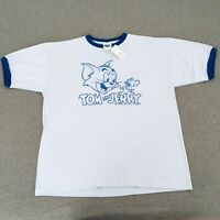 Size XL- Vintage Tom And Jerry T-shirt Thunder Creek Blue Ringer 90s Deadstock