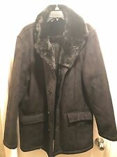 Unisex LIZ CLAIBORNE Large Black Faux Fur Collar 100% WOOL Coat