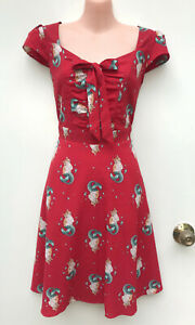DANGERFIELD Red Purrmaid Cat Dress Front Bow Cap Sleeve Fit & Flare sz 10
