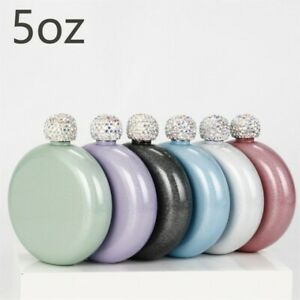 Round Portable Small Hip Flask W/flash Paint Mini 304 Stainless Steel Hip Flask