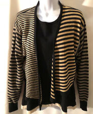 VTG Sonia Rykiel Paris 2 piece black wool sweater twinset sz 42/Med